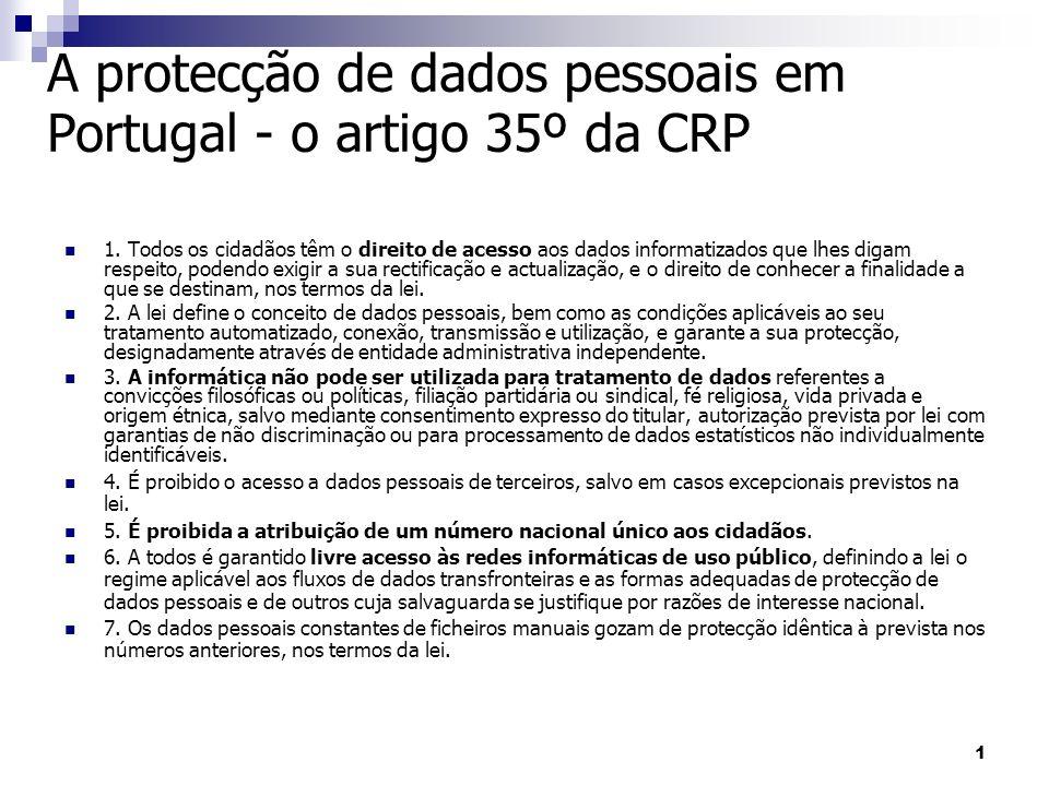 A protecção de dados pessoais em Portugal - o artigo 35º da CRP