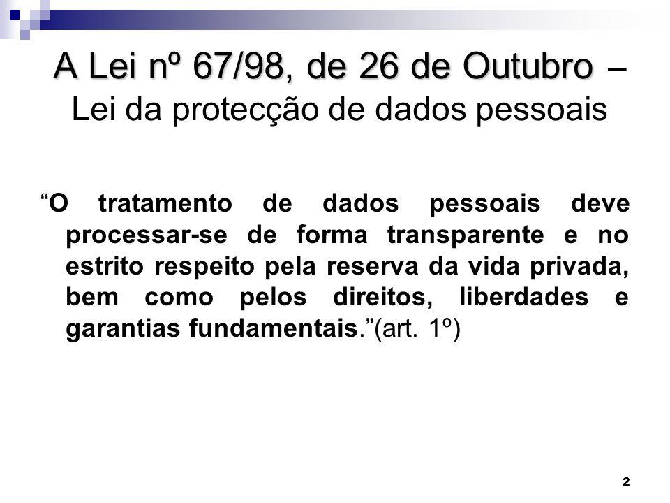 A Lei nº 67/98, de 26 de Outubro – Lei da protecção de dados pessoais