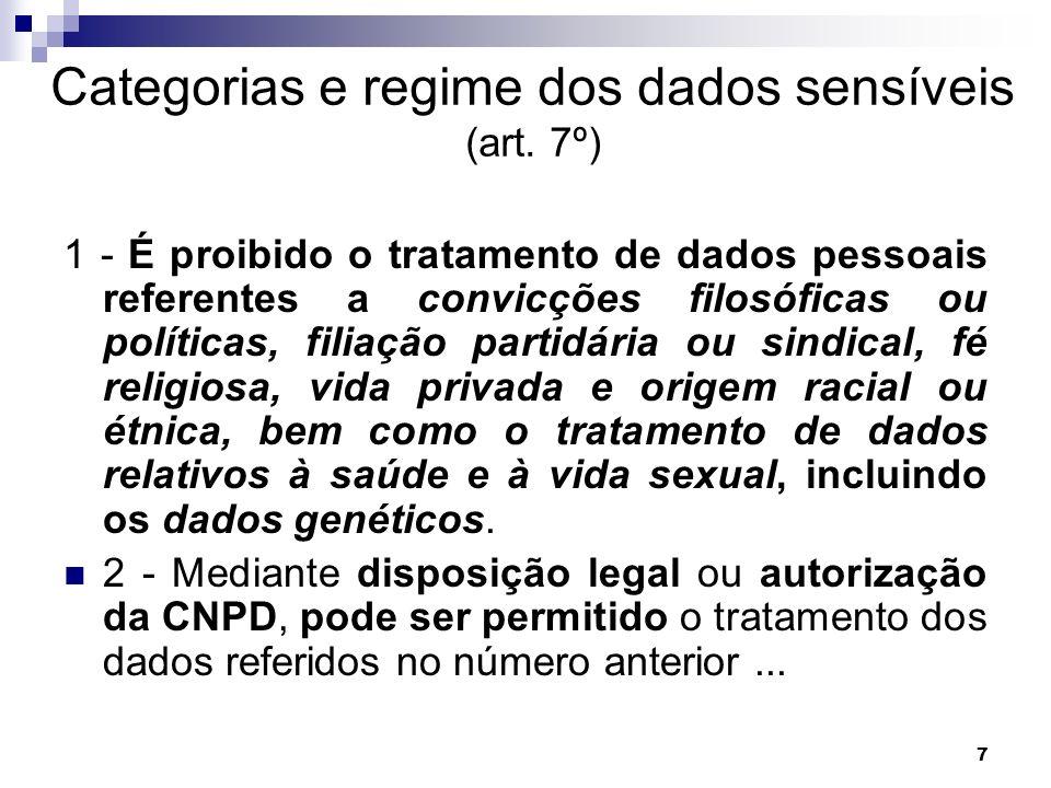 Categorias e regime dos dados sensíveis (art. 7º)