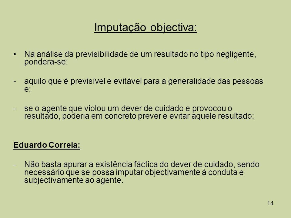 Imputação objectiva: Na análise da previsibilidade de um resultado no tipo negligente, pondera-se: