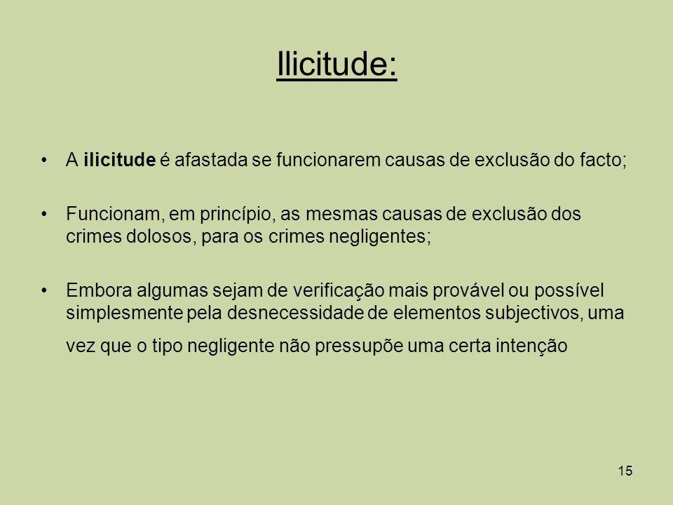 Ilicitude: A ilicitude é afastada se funcionarem causas de exclusão do facto;