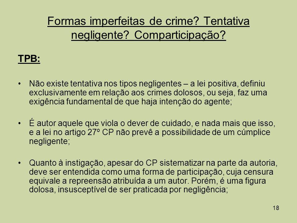 Formas imperfeitas de crime Tentativa negligente Comparticipação