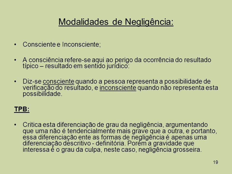 Modalidades de Negligência: