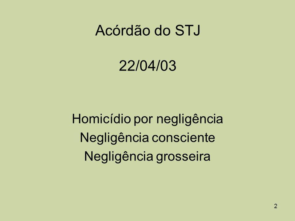 Acórdão do STJ 22/04/03 Homicídio por negligência