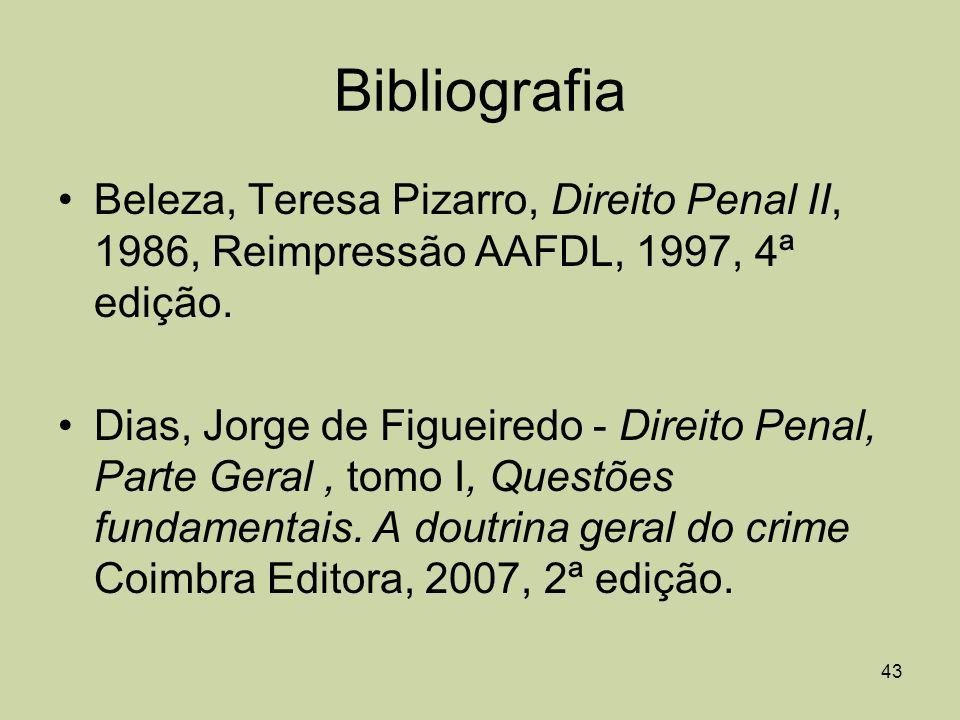 Bibliografia Beleza, Teresa Pizarro, Direito Penal II, 1986, Reimpressão AAFDL, 1997, 4ª edição.
