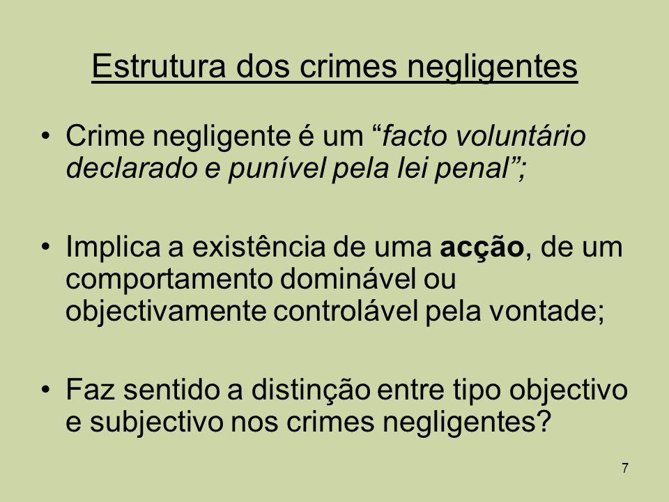 Estrutura dos crimes negligentes