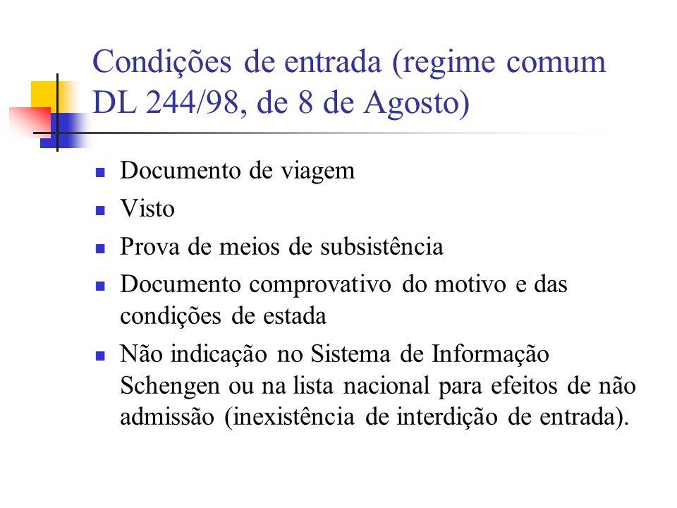 Condições de entrada (regime comum DL 244/98, de 8 de Agosto)