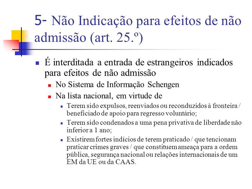 5- Não Indicação para efeitos de não admissão (art. 25.º)