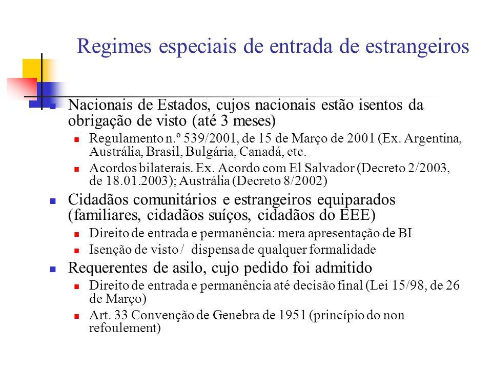 Regimes especiais de entrada de estrangeiros