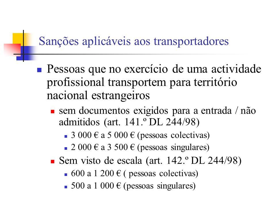 Sanções aplicáveis aos transportadores