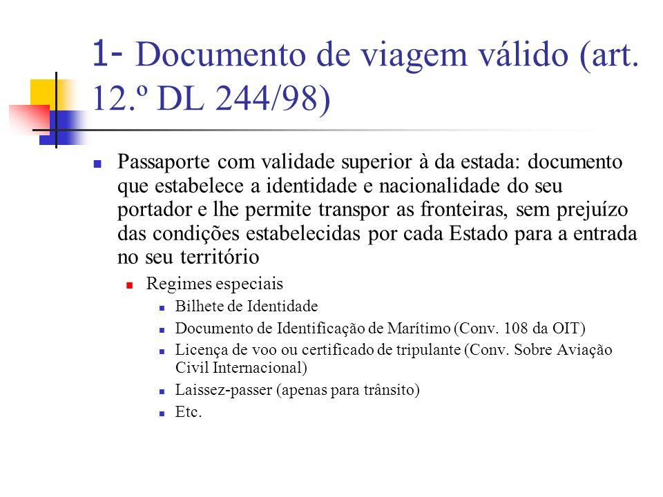 1- Documento de viagem válido (art. 12.º DL 244/98)