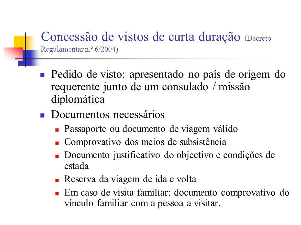 Concessão de vistos de curta duração (Decreto Regulamentar n.º 6/2004)