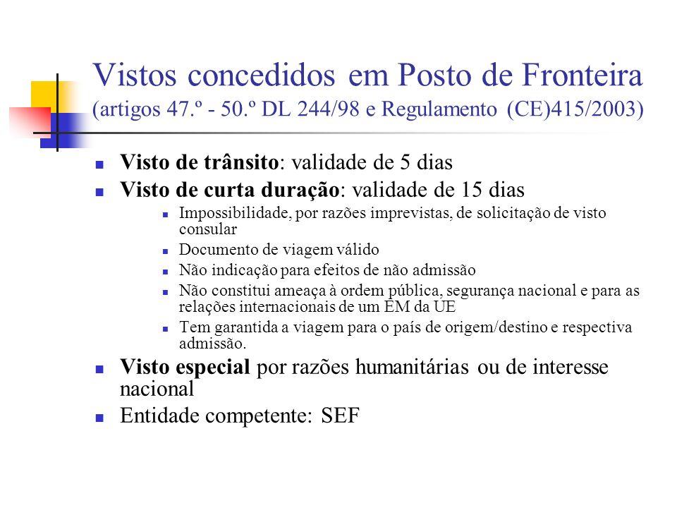 Vistos concedidos em Posto de Fronteira (artigos 47. º - 50