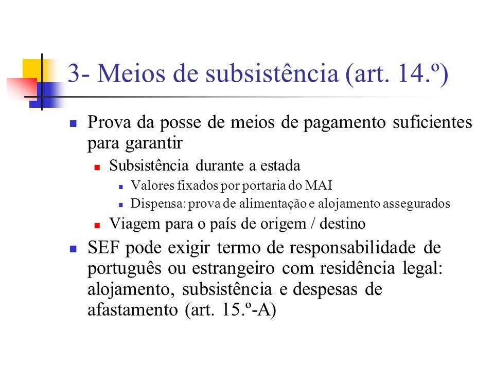 3- Meios de subsistência (art. 14.º)