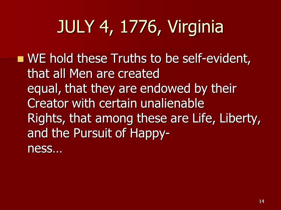 JULY 4, 1776, Virginia