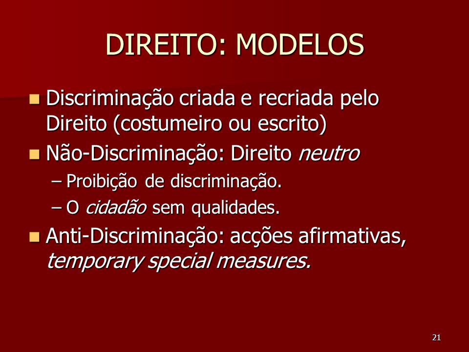 DIREITO: MODELOS Discriminação criada e recriada pelo Direito (costumeiro ou escrito) Não-Discriminação: Direito neutro.
