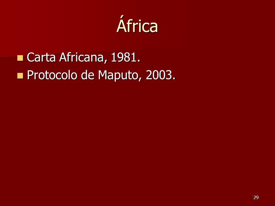 África Carta Africana, 1981. Protocolo de Maputo, 2003.