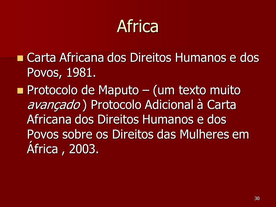 Africa Carta Africana dos Direitos Humanos e dos Povos, 1981.