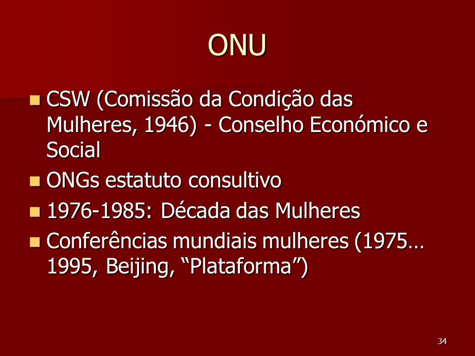 ONU CSW (Comissão da Condição das Mulheres, 1946) - Conselho Económico e Social. ONGs estatuto consultivo.