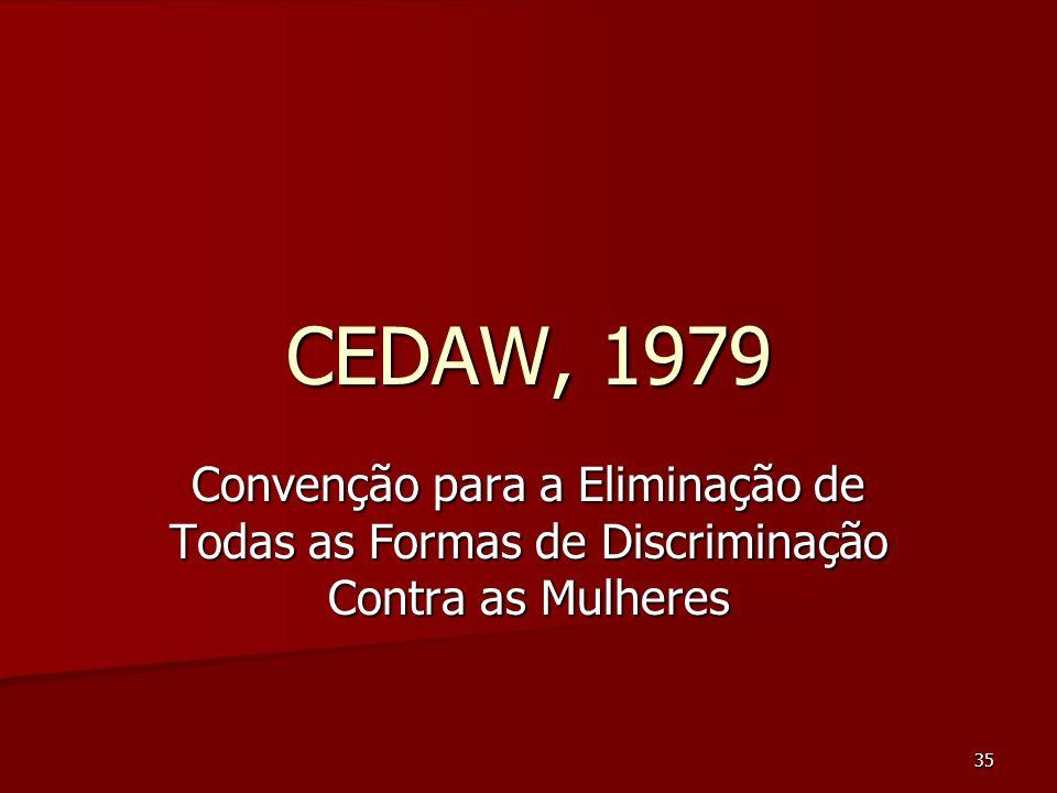 CEDAW, 1979 Convenção para a Eliminação de Todas as Formas de Discriminação Contra as Mulheres