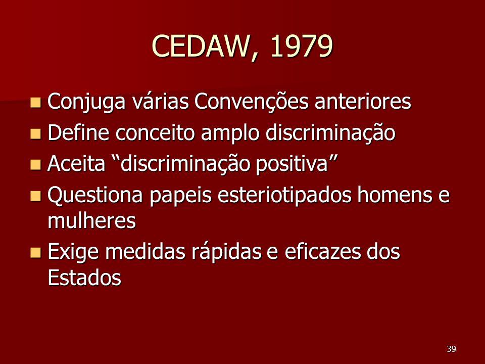 CEDAW, 1979 Conjuga várias Convenções anteriores