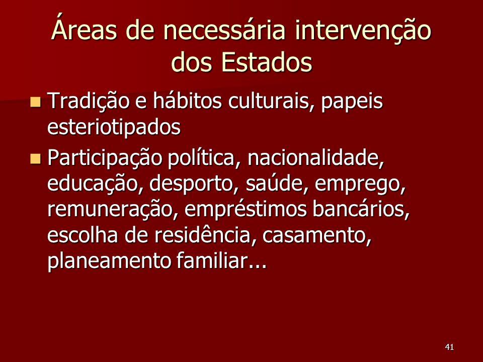 Áreas de necessária intervenção dos Estados