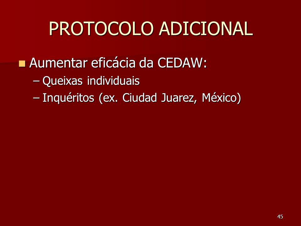 PROTOCOLO ADICIONAL Aumentar eficácia da CEDAW: Queixas individuais