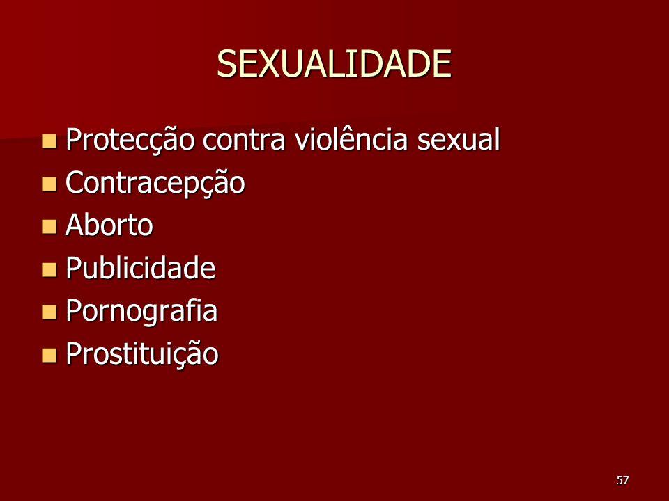 SEXUALIDADE Protecção contra violência sexual Contracepção Aborto