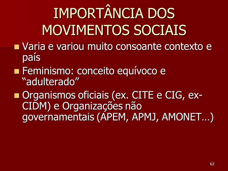IMPORTÂNCIA DOS MOVIMENTOS SOCIAIS