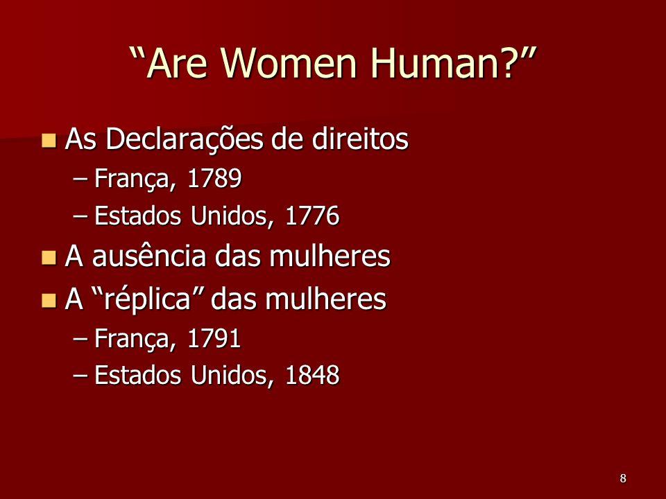 Are Women Human As Declarações de direitos A ausência das mulheres