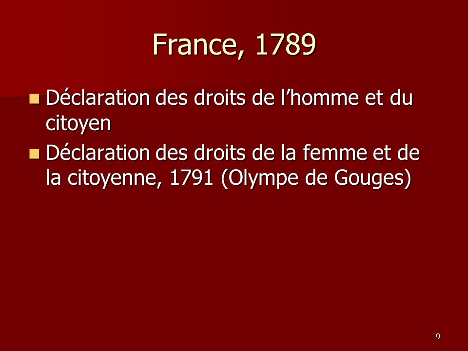 France, 1789 Déclaration des droits de l'homme et du citoyen