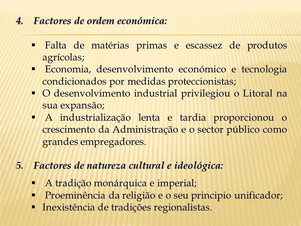 Factores de ordem económica: