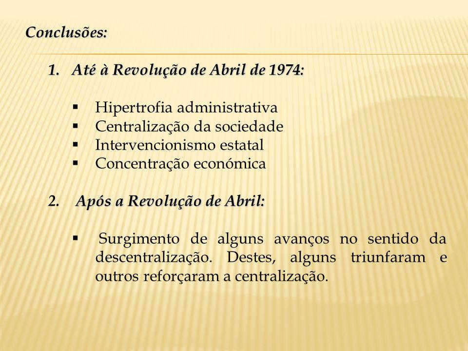Conclusões:Até à Revolução de Abril de 1974: Hipertrofia administrativa. Centralização da sociedade.