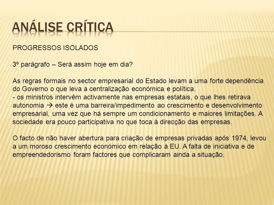 Análise Crítica PROGRESSOS ISOLADOS