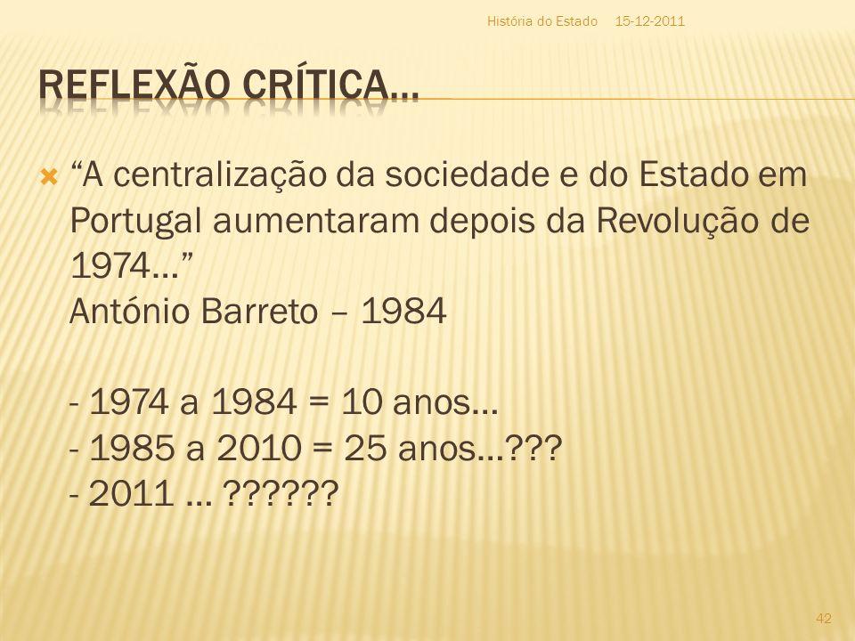 História do Estado15-12-2011. Reflexão Crítica…