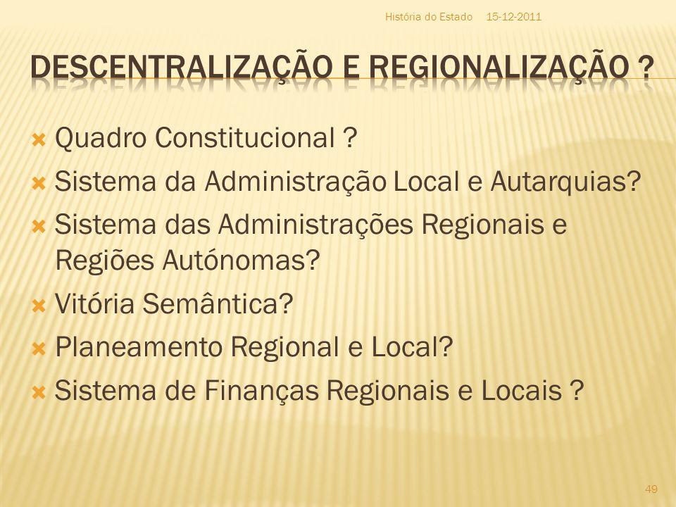 Descentralização e Regionalização