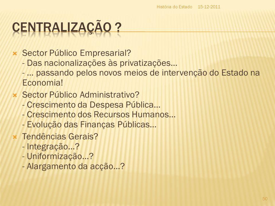 História do Estado 15-12-2011. Centralização