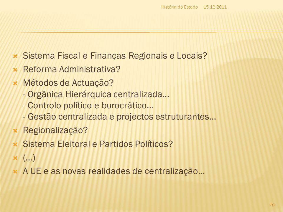 Sistema Fiscal e Finanças Regionais e Locais Reforma Administrativa