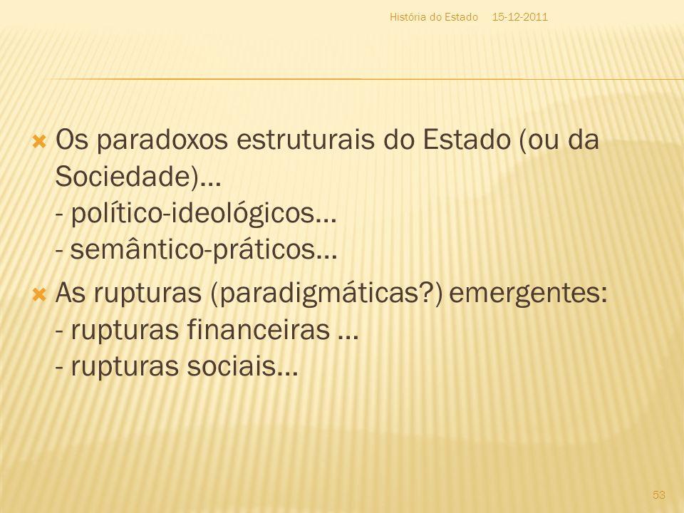 História do Estado 15-12-2011. Os paradoxos estruturais do Estado (ou da Sociedade)… - político-ideológicos… - semântico-práticos…