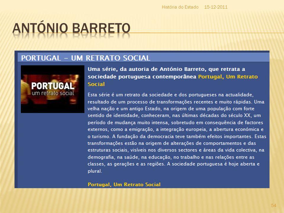 História do Estado 15-12-2011 António Barreto