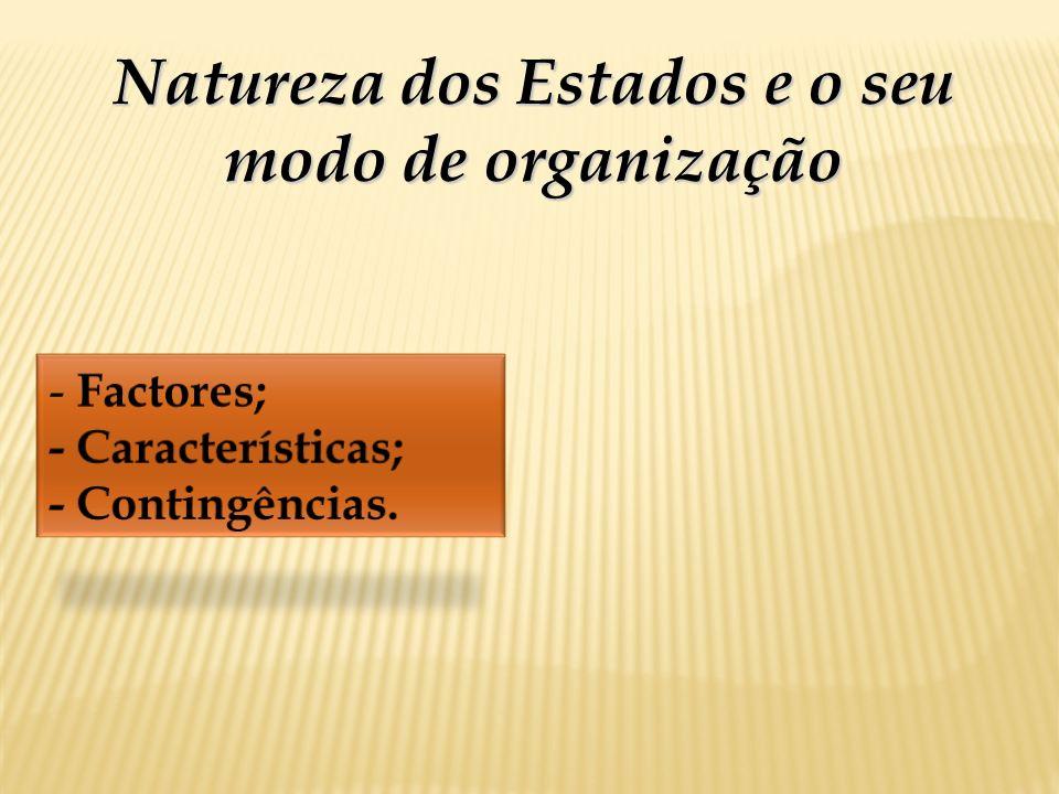 Natureza dos Estados e o seu modo de organização