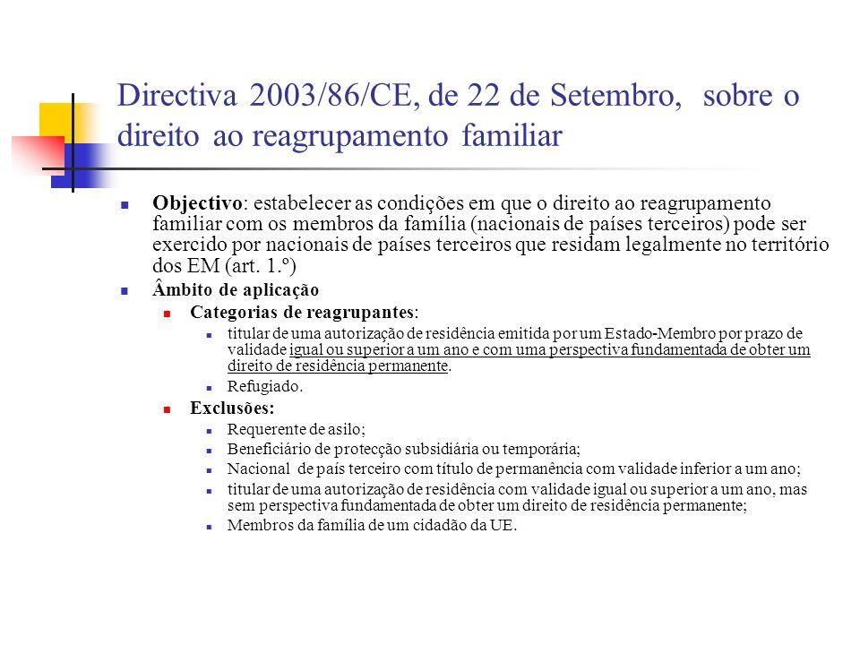 Directiva 2003/86/CE, de 22 de Setembro, sobre o direito ao reagrupamento familiar
