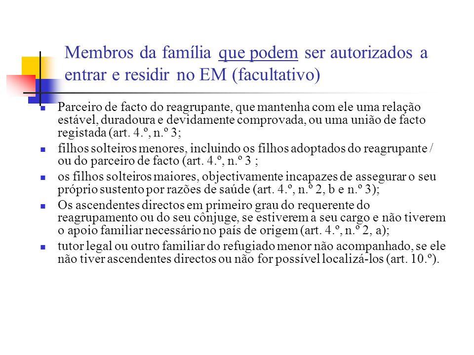 Membros da família que podem ser autorizados a entrar e residir no EM (facultativo)