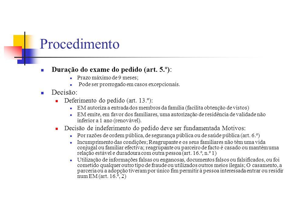 Procedimento Duração do exame do pedido (art. 5.º): Decisão: