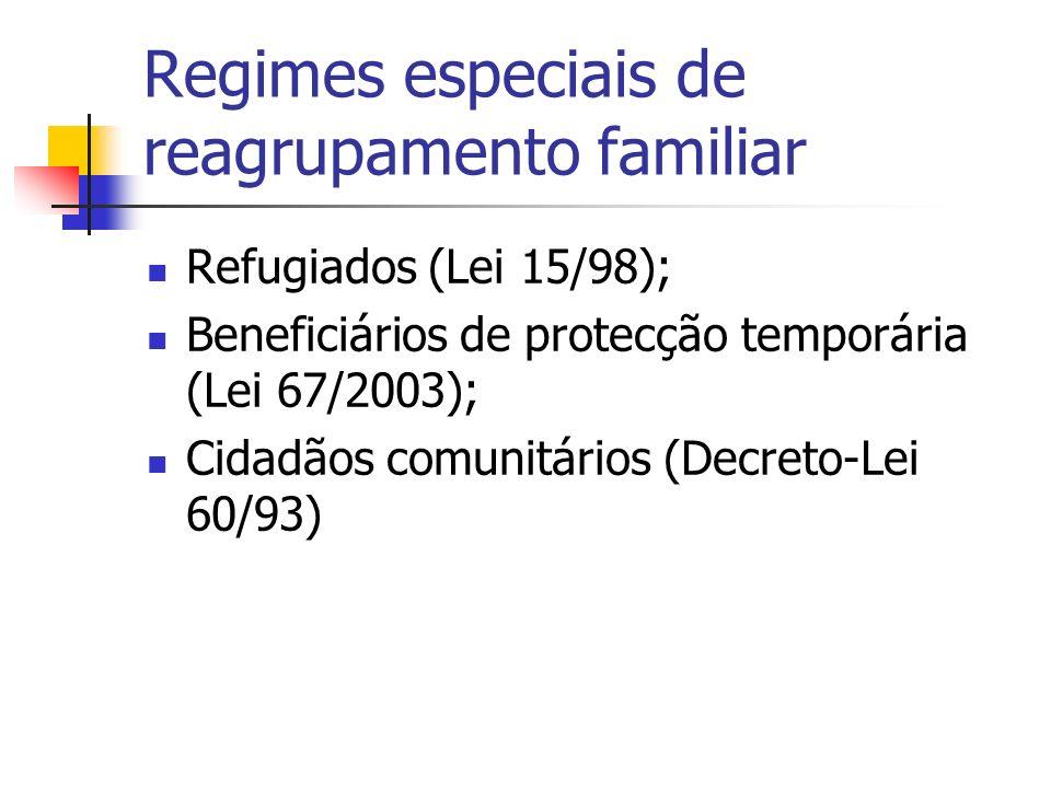 Regimes especiais de reagrupamento familiar