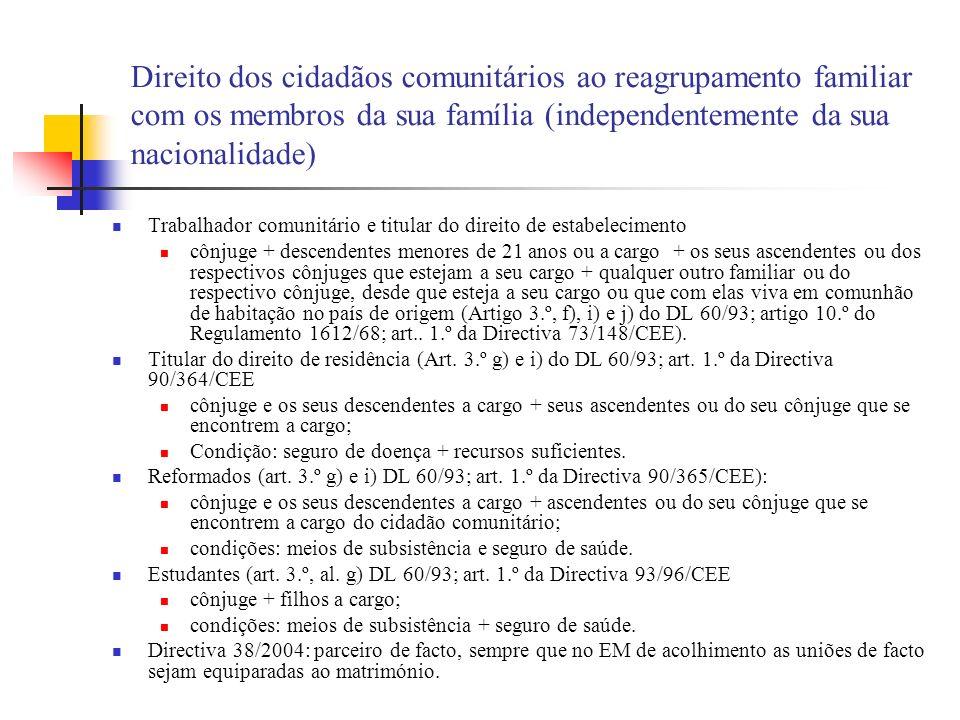 Direito dos cidadãos comunitários ao reagrupamento familiar com os membros da sua família (independentemente da sua nacionalidade)