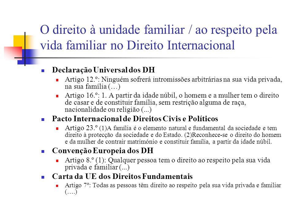 O direito à unidade familiar / ao respeito pela vida familiar no Direito Internacional
