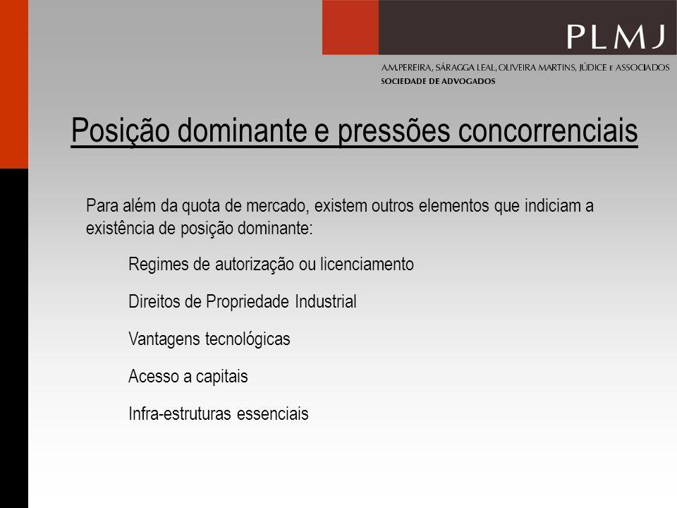 Posição dominante e pressões concorrenciais