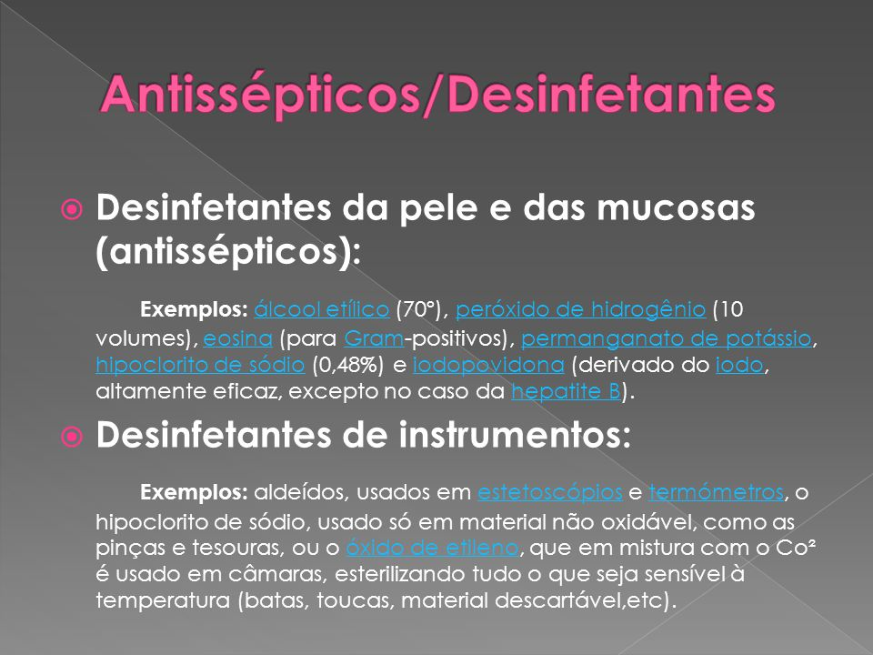Antissépticos/Desinfetantes