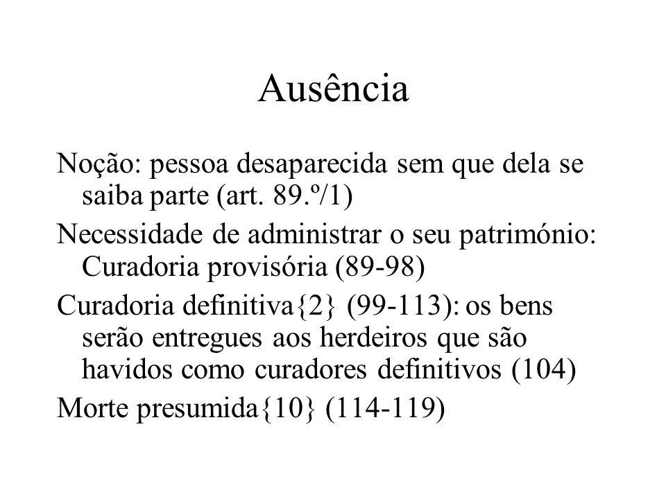 AusênciaNoção: pessoa desaparecida sem que dela se saiba parte (art. 89.º/1)